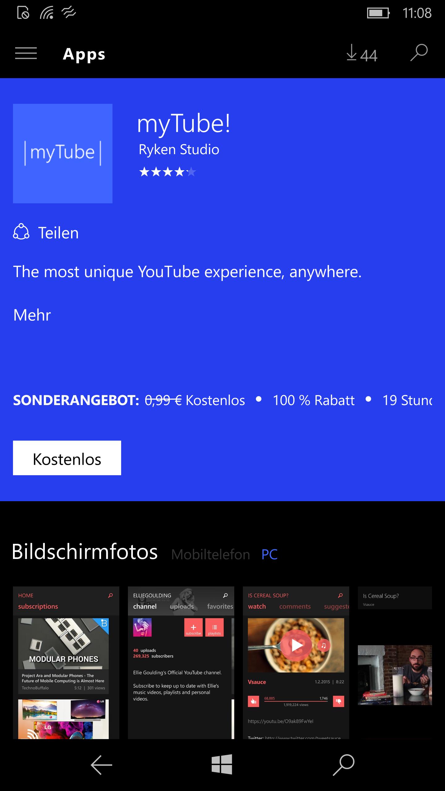 myTube! kostenfrei für Windows 10 Mobile