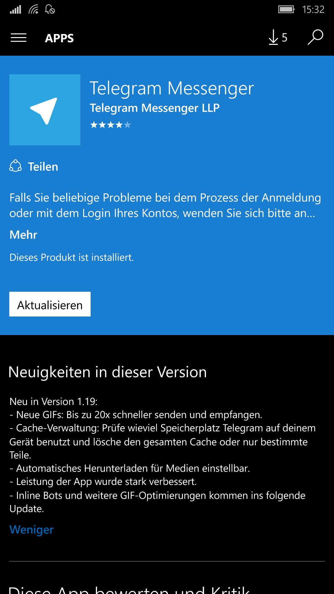 Telegram für Windows 10 Mobile bekommt ein Update