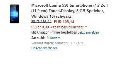 Lumia 550 für 105,14€