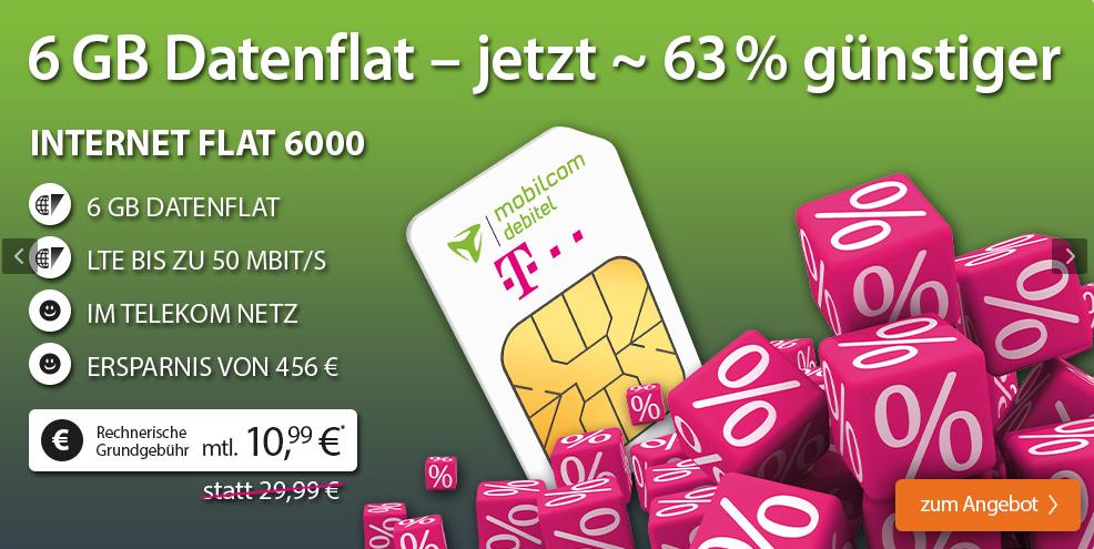 Telekom Internet Flat 6000 für 10,99€/Monat