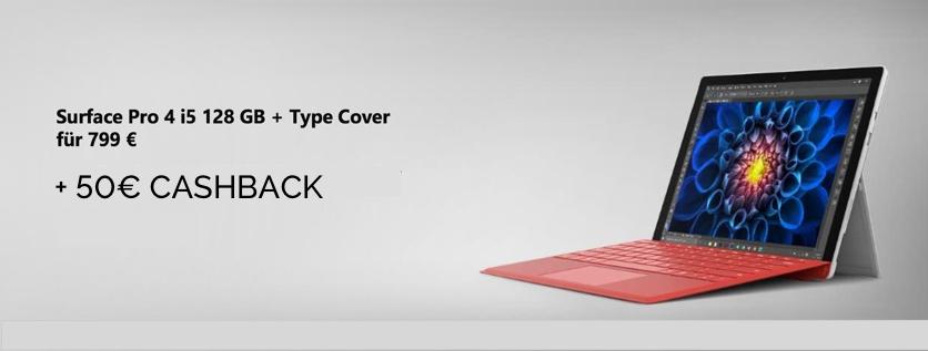 Surface Pro 4 i5 128 GB inkl. Type Cover für effektiv 749 €