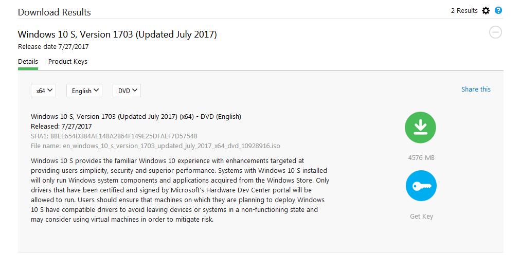 Windows 10 S ISO als Download verfügbar