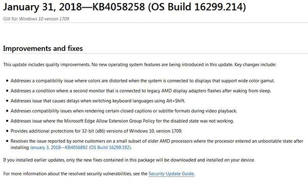 Kumulatives Update für Windows 10 Version 1709 veröffentlicht (KB4058258)