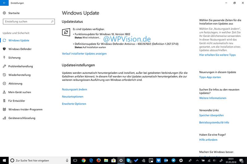 Windows 10 Update 1803 wird bereits ausgerollt