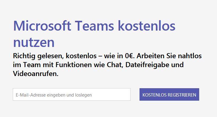Microsoft Teams jetzt als kostenfrei Version verfügbar